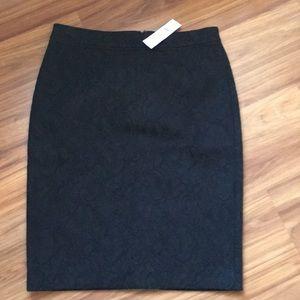 Ann Taylor Textured Black Pencil Skirt Size 8